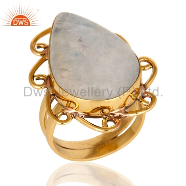 Handmade Natural Rainbow Moonstone Ring - Yellow Gold Plated