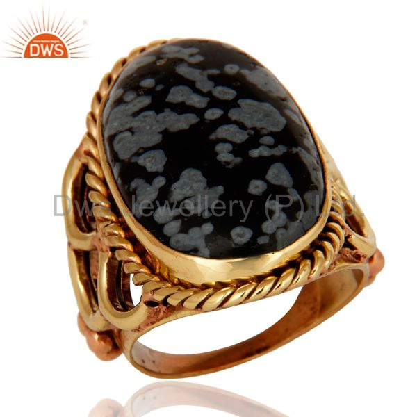 Natural Snowflake Obsidian Ring Made In 18K Gold Over Brass Jewelry