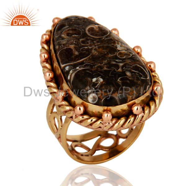 Handmade Copper Natural Turritella Agate Gemstone Designer Ring