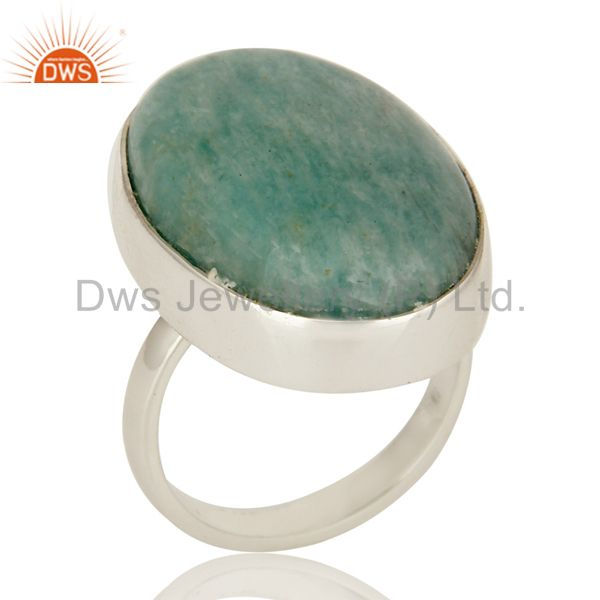 Natural Amazonite Gemstone Sterling Silver Bezel Set Statement Ring
