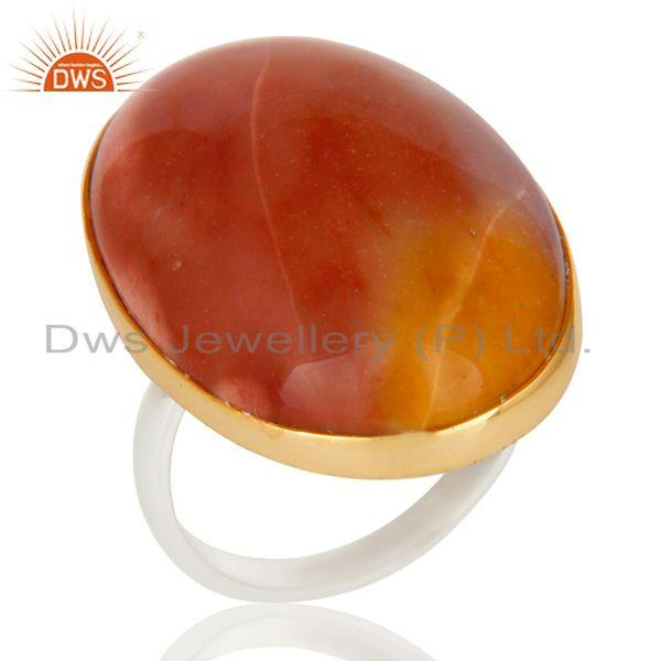 18K Gold Sterling Silver Plated Mookaite Gemstone Bezel Setting Statement Ring