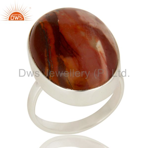 Handmade Solid Sterling Silver Mookaite Gemstone Bezel Setting Statement Ring