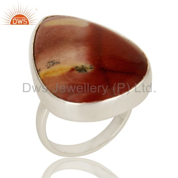 Natural Mookaite Gemstone Sterling Silver Bezel Set Statement Ring