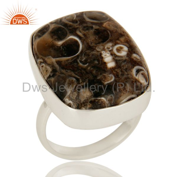 Natural Turritella Agate Gemstone Sterling Silver Statement Ring