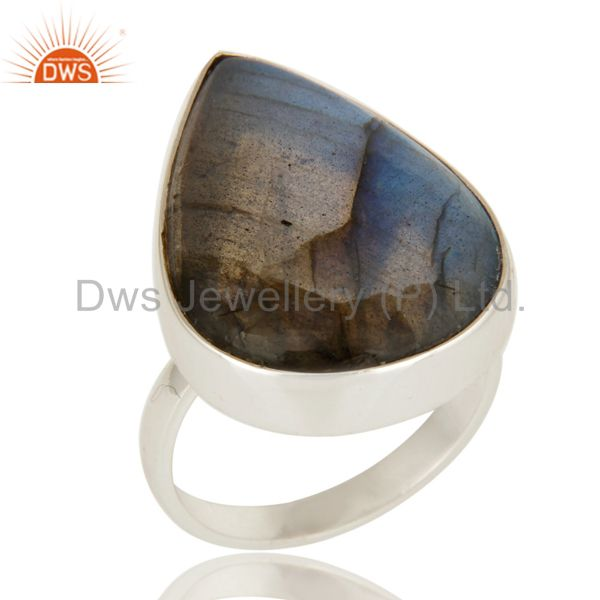 Handmade Sterling Silver Natural Labradorite Gemstone Bezel Set Ring