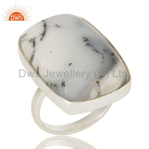Natural Dendritic Opal Gemstone Bezel Set Ring In Sterling Silver