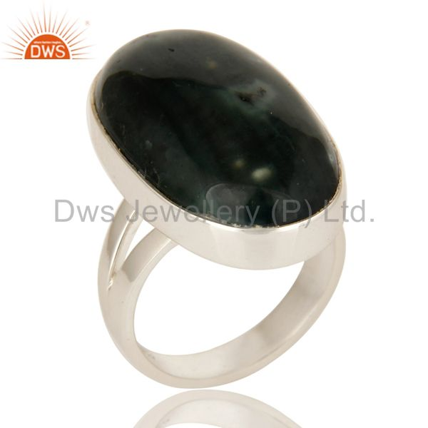 Natural Ocean Jasper Gemstone Bezel Set Statement Ring In Sterling Silver