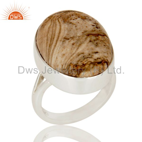 Handmade Sterling Silver Picture Jasper Gemstone Bezel Set Statement Ring