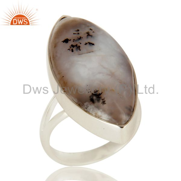 Handmade Sterling Silver Dendritic Opal Bezel Set Gemstone Statement Ring