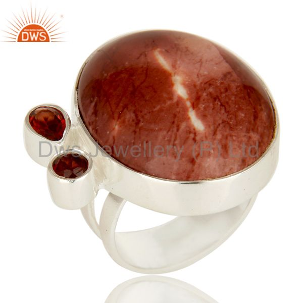 Handmade Solid Sterling Silver Mookaite And Garnet Gemstone Statement Ring
