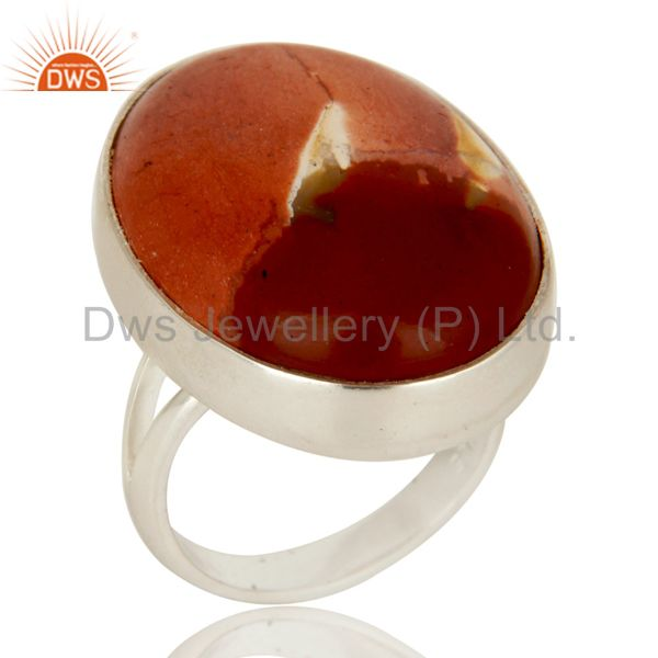 Handmade Sterling Silver Natural Mookaite Gemstone Bezel Set Statement Ring