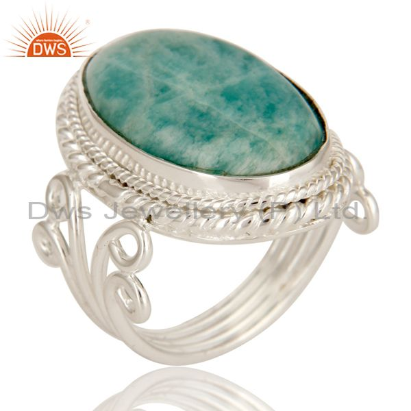 Handmade Sterling Silver Natural Amazonite Gemstone Designer Statement Ring