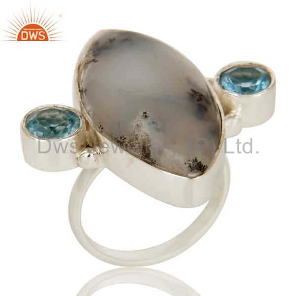 Handmade Solid Sterling Silver Dendritic Opal And Blue Topaz Designer Ring