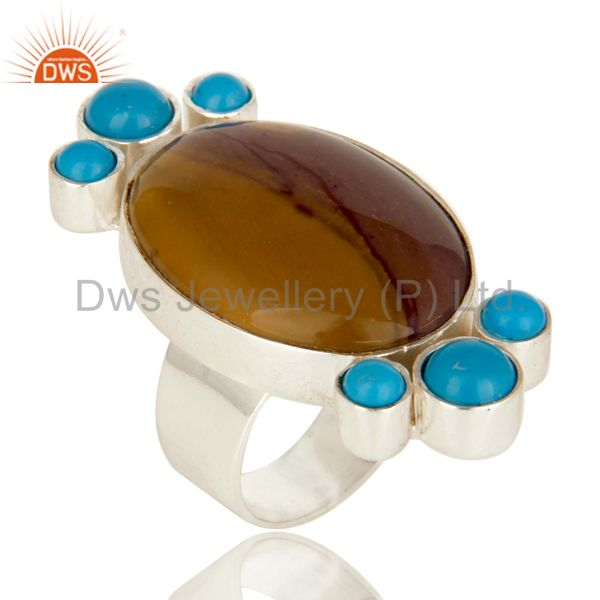 Handmade Sterling Silver Mookaite And Turquoise Gemstone Statement Ring