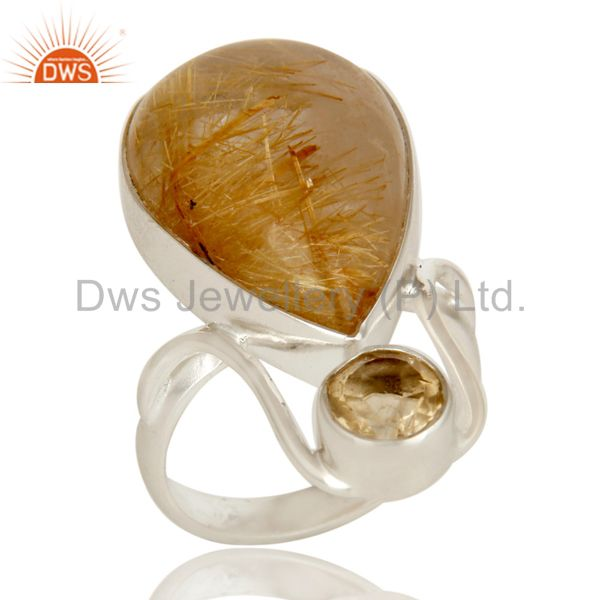 Handmade Sterling Silver Citrine And Rutilated Quartz Bezel Set Statement Ring