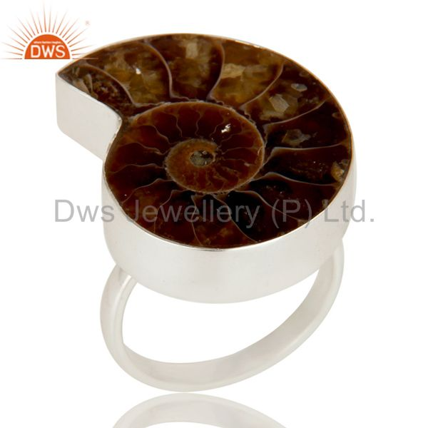 Handmade Solid Sterling Silver Ammonite Bezel Set Cocktail Ring