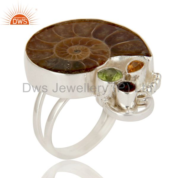 Handmade Sterling Silver Garnet, Citrine, Peridot And Ammonite Cocktail Ring