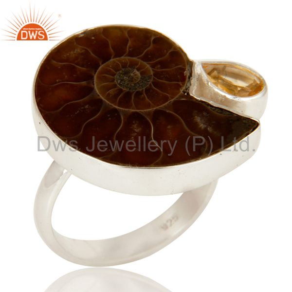 Handmade Natural Ammonite & Pear Cut Citrine 925 Sterling Silver Statement Ring