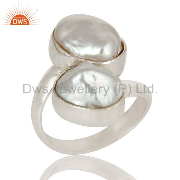 Fresh Water Pearl Solid Sterling Silver Handmade Two Stone Ring