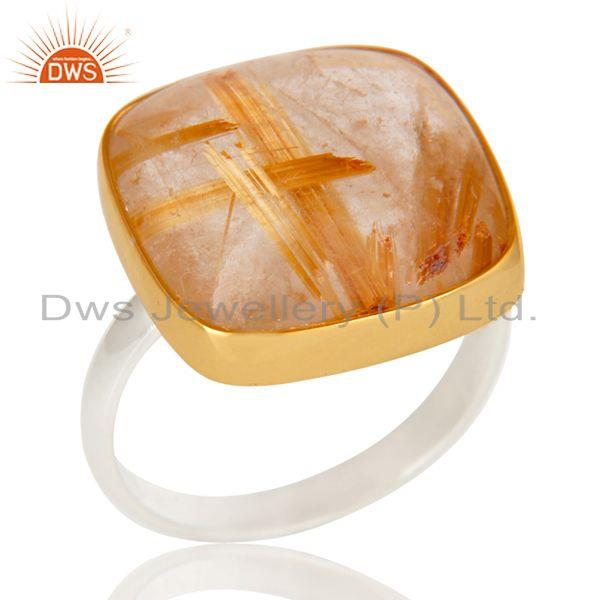 18k gold plated solid 925 sterling silver routile golden statement ring
