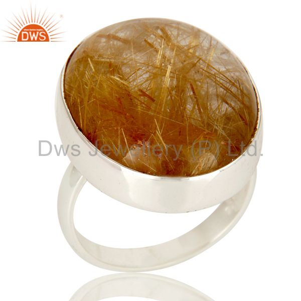 Yellow Rutile Golden Rutile Solid 925 Silver Handmade Bezel Set Ring