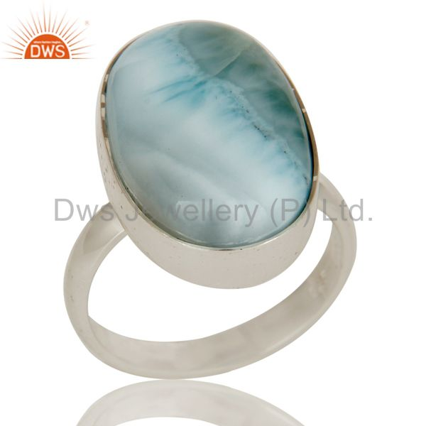 Natural Larimar and Solid Sterling Silver Bezel Set Ring
