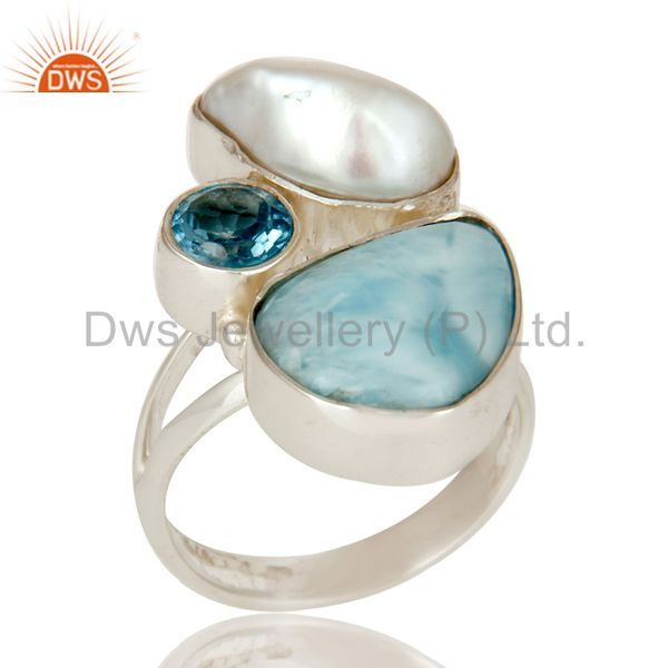 Larimar Fresh Water Pearl and Blue Topaz Sterling Silver Artisan Ring