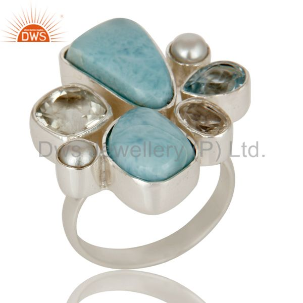 Larimar, Pearl, BT and Crystal Quartz Sterling Silver Handmade Designer Ring