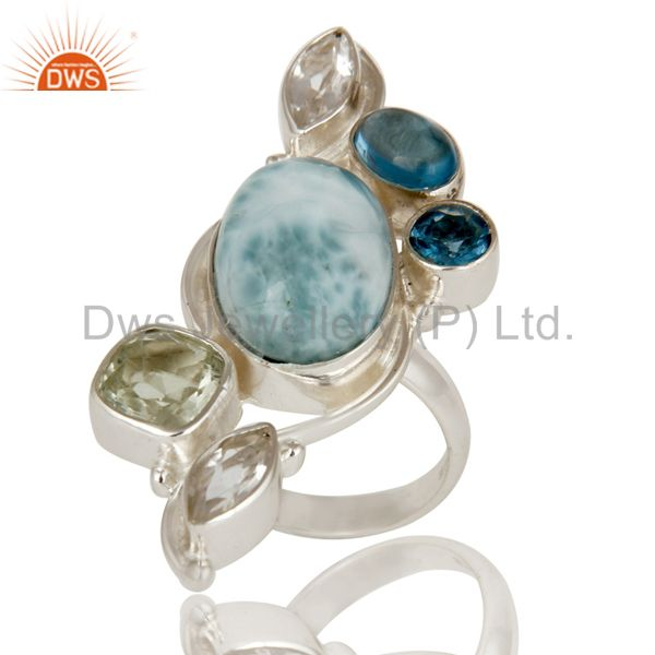 Larimar, Green Amethyst, Blue Topaz and Crystal Sterling Silver Handmade Ring