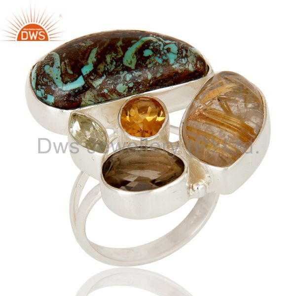 Boulder Turquoise, Rutile Citrine and Multi Gemstone Colorful 925 Silver Ring