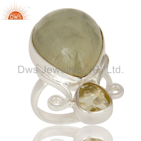 Prehnite and Lemon Topaz Sterling Silver Gemstone Ring