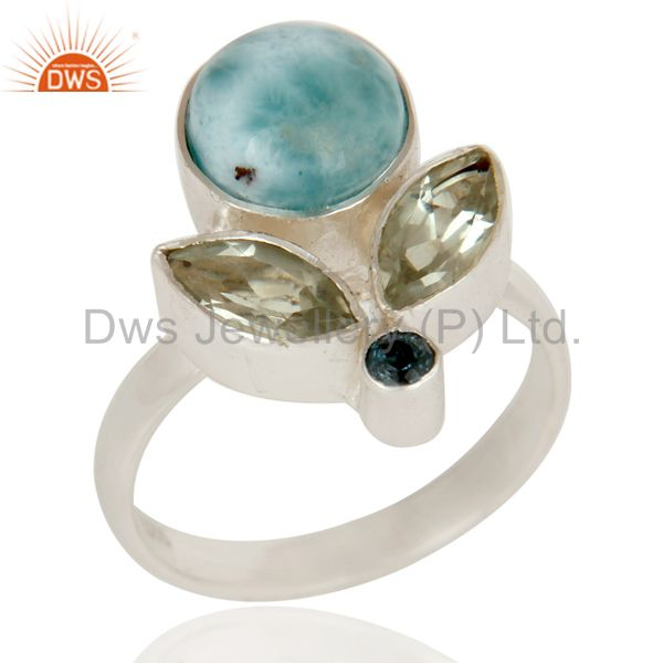 Larimar, Green Amethyst and Blue Topaz Sterling Silver Gemstone Ring