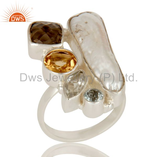 Fresh Water Pearl, BT, Smokey and Citrine Multi Stone Sterling Silver Ring