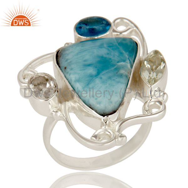 Prasiolite, Larimar and Blue Topaz Solid Sterling Silver Gemstone Ring