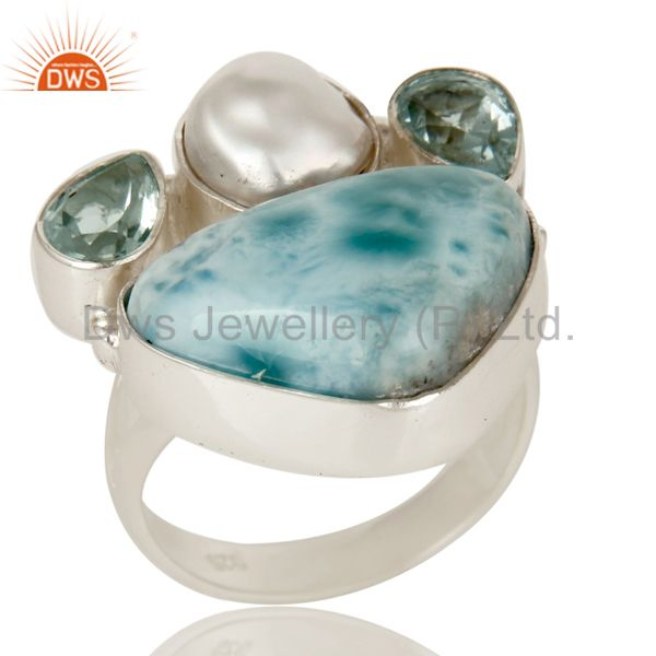 Fresh Water Pearl, Larimar and Blue Topaz Sterling Silver Artisan Statement Ring