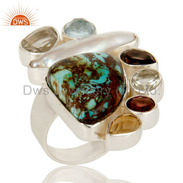 Boulder Turquoise, Citrine, Fresh Water Pearl Multi Stone Combination Ring