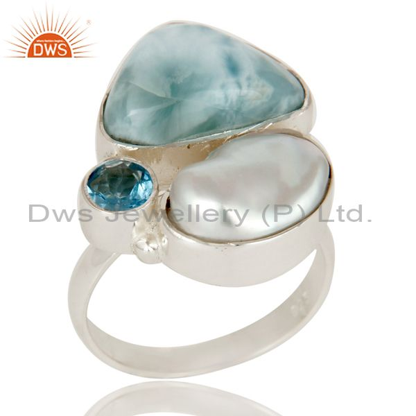 Larimar, Fresh Water Pearl and BT Solid 925 Silver Gemstone Ring