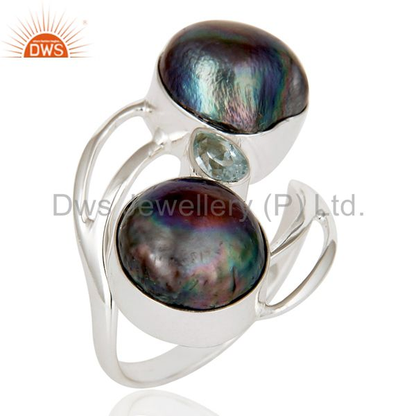 Blue Topaz & Fresh Water Pearl 925 Sterling Silver Statement Designer Ring
