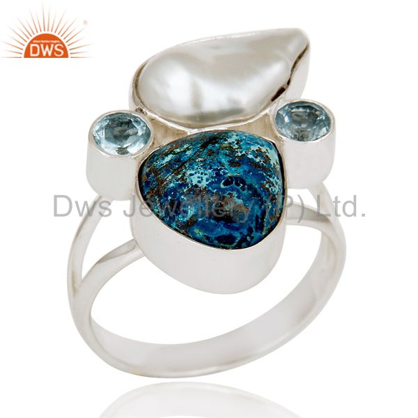 Chrysocola, Blue Topaz & Fresh Water Pearl 925 Sterling Silver Designer Ring