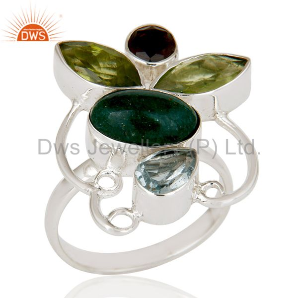Chrysocola, Blue Topaz, Peridot & Smokey Topaz Sterling Silver Statement Ring