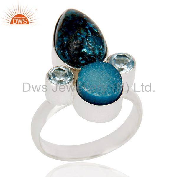 Natural Blue Druzy, Chrysocola & Blue Topaz 925 Sterling Silver Statement Ring