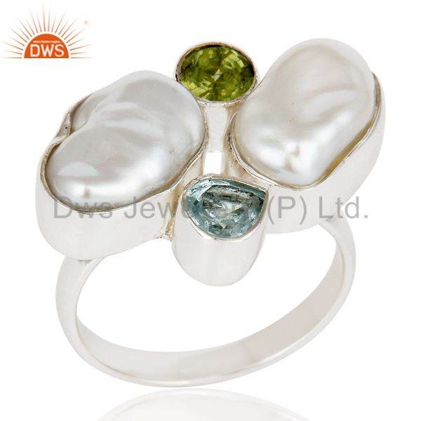 Fresh Water Pearl, Blue Topaz & Peridot 925 Sterling Silver Statement Ring