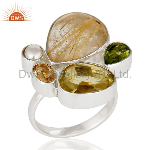 Rutile Golden,Citrine,Peridot And Lemon Topaz Sterling Silver Statement Ring