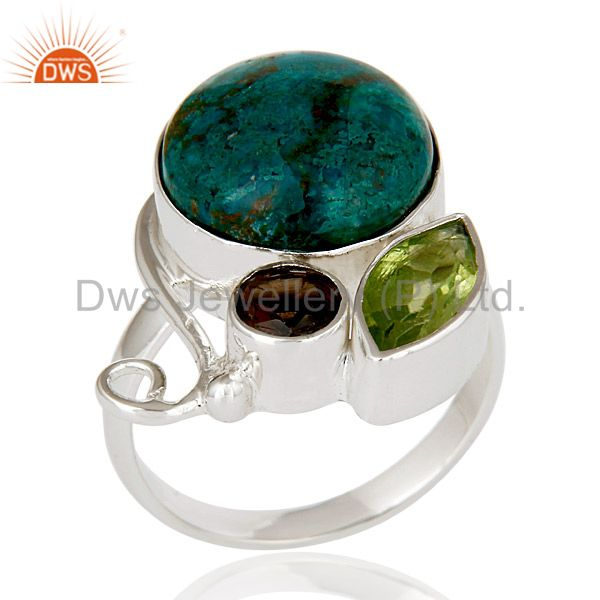 Handmade Chrysocola, Peridot & Smokey Topaz 925 Sterling Silver Statement Ring