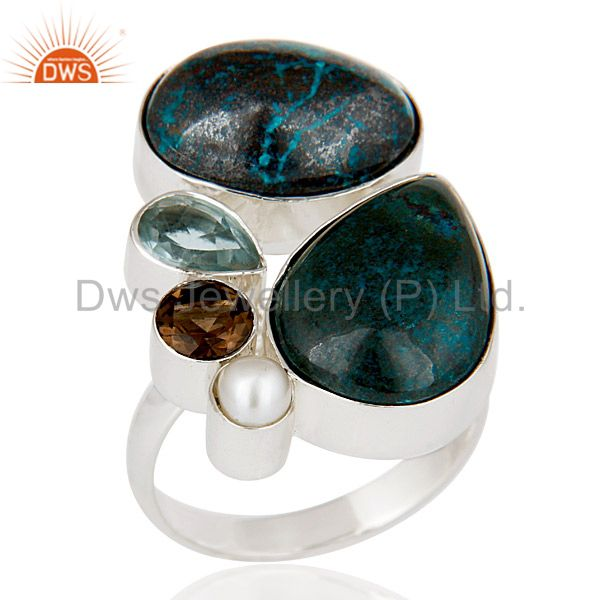Chrysocola, Blue Topaz, Pearl & Smokey Topaz 925 Sterling Silver Statement Ring