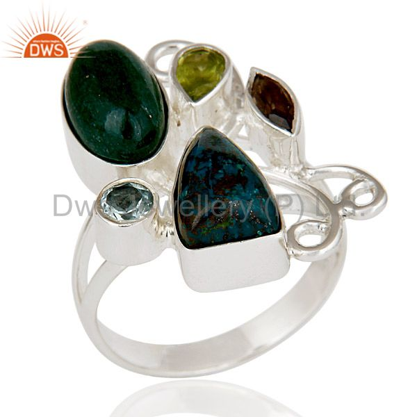 Chrysocola, Peridot, Blue Topaz & Smokey Topaz Sterling Silver Statement Ring