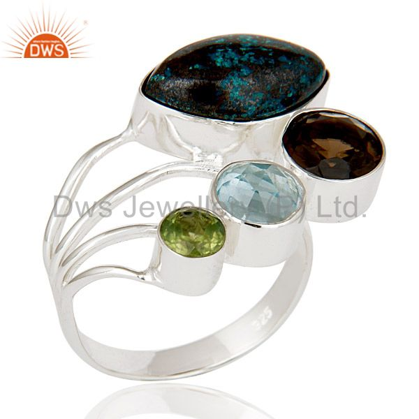 Blue Topaz, Chrysocola, Peridot & Smokey Topaz Sterling Silver Statement Ring