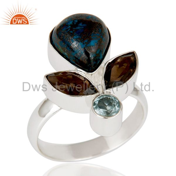 Blue Topaz, Chrysocola & Smokey Topaz Sterling Silver Statement Ring