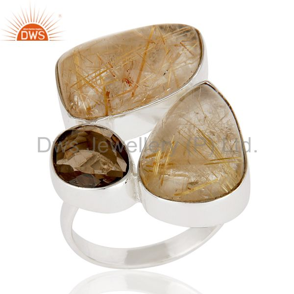 Natural Golden Rutile And Smoky Topaz 925 Sterling Silver Statement Ring