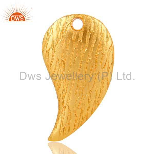 18K Yellow Gold Plated Brass Brushed Finish Teardrop Charms Finding Jewelry
